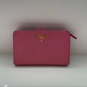 PRADA pink saffiano leather medium wallet